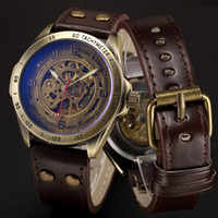 Wholesale steampunk mens watch - Mechanical Automatic Skeleton Watches Men Steampunk Wrist Watch Power Self Widing Bronze Antique Leather Clock Mens Wristwatches