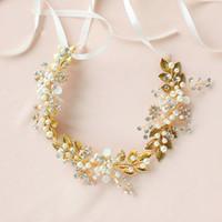Wholesale 14k jewerly - Boho Gold Leaf Hair Vine Bridal Headband Wedding Tiara Pearls Hair Jewerly Women Accessories Headpiece Handmade Headwear