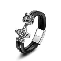 wolfskopf armbänder großhandel-Männer Zubehör Edelstahl Armband Mode gewebt Echtleder Armband Titan Stahl Wolf Kopf Schmuck antike Geschenke