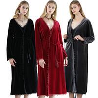 Hight Quality Winter Warm Velvet Bathrobe 2017 Warm Comfy Long Kimono Robe  for Women Black Red Sleepwear Nightgown Spa Robes ed050c089