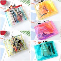 Wholesale clear pvc makeup case for sale - Group buy New Cartoon Laser Makeup Bags Cases Clear PVC Waterproof Travel Wash Bag Organizer Colorful Storage Bag