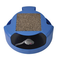 Cat Interactive Toys with A Running Mice and A Scratching Pad,Catch The Mouse,Cat Scratcher Catnip Toy,Blue