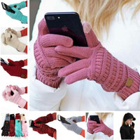 Wholesale 2019 Newest Knitted Touch Screen Gloves Knit Wool Five Fingers Gloves Winter Outdoor Cycling Gloves For Men And Women