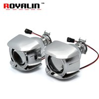 Wholesale h1 projector light - ROYALIN Car Style H1 Bi-xenon HID Mini Projector Headlights Lens 1.8 inch for Motorcycle H4 H7 Auto Retrofits Fog Lights DIY