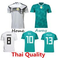 Wholesale Football German - 3AAA+ Thai Quality 2018 Germany soccer jersey world cup Home Jerseys OZIL MULLER GOTZE HUMMELS KROOS BOATENG REUS German Away football shirt