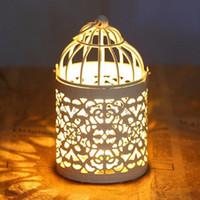 vintage demir mumluklar toptan satış-Metal Birdcage Hollow Demir Vintage Mumluk Ferforje Ev Dekorasyon Düğün Romantik Doğum Günü Malzemeleri sevgililer Günü Hediyesi