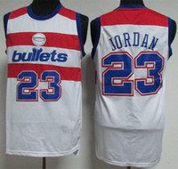Wholesale bullet custom - #23 MJ Michael Washington Bullets Retro  Basketball Jersey Mens Embroidery Stitched Custom any Number and name Jerseys
