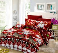 christmas comforters sets 2018 - Merry Christmas Bedding Set Red Santa Claus Festival Duvet Cover Bed Sheets Pillowcase Home Textile Without Comforter 4Pcs D30