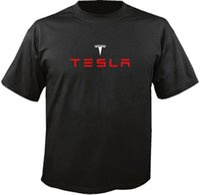 различные вершины шеи оптовых-Тесла Электрический Автомобиль Логотип Футболка Harajuku Прохладный Футболка Homme Разные Цвета Высокое Качество 100% Топы O-Образным Вырезом Рубашки