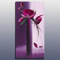 yağlıboya tablolar mor çiçekler toptan satış-Mor renk ile dekoratif çiçek yağlıboya el yapımı ağır doku palet bıçağı tuval duvar sanat yağlıboya