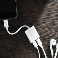 Wholesale Music Splitter - 2 in 1 Adapter for Charging Music iPhone 7 8 X Plus Aux Plug Jack Headphone Splitter Charging and Audio Cable Adaptador