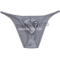 бикини оптовых-Sexy Micro Tanga Pants Mens String Блестящие бикини Брюки Нижнее белье