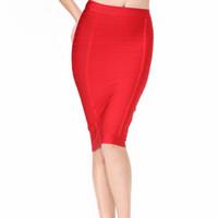 e4e8148efb vendaje rodilla longitud faldas al por mayor-2017 Nuevo Otoño Falda Vendaje  Mujeres Rojo Cielo