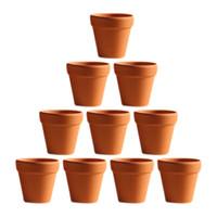 ingrosso piccoli vasi da fiori-Commercio all'ingrosso 10pcs piccolo mini terracotta vaso di argilla ceramica ceramica fioriera cactus vasi di fiori succulente vivaio pentole grande
