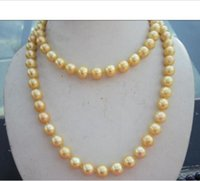"""yellow sea pearl Australia - Natural AAA 10-11mm south sea gold pearl necklace 14K yellow golden clasp 35"""""""