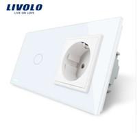Wholesale livolo crystal glass switch panel resale online - Livolo EU standard Touch Switch White Crystal Glass Panel AC V A Wall Socket with Light Switch VL C701 VL C7C1EU