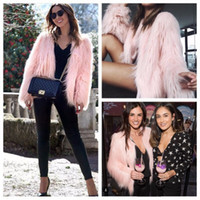 Wholesale winter furry jacket - Furry Fur Coat Women Fluffy Warm Long Sleeve Female Outerwear Autumn Winter Coat Jacket Hairy Collarless Overcoat