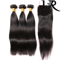 Wholesale URVENUS Straight Hair Brazilian Virgin Hair Bundles with Closure Malaysian Peruvian Indian Human Hair Bundles with Lace Closure