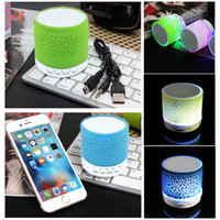 Wholesale Portable Mosquito - Colorful LED Speaker Bluetooth Mini Speakers Portable Subwoofer Support FM radio Handfree AUX USB Port TF Card Speaker For iPhon PC with Mic