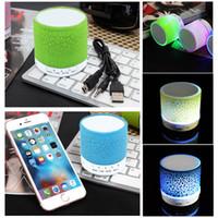 usb para rádio venda por atacado-Colorido LED Speaker Bluetooth Mini Alto-falantes de Subwoofer Portátil Apoio rádio FM Handfree AUX Porta USB de Cartão TF Alto-falante Para iPhon PC com Mic