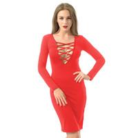 vestido lápiz de manga larga rojo al por mayor-Vestido largo del verano de las mujeres Bodycon del vestido del lápiz con cuello en v fiesta de noche del club nocturno negro rojo del vendaje de manga larga vestidos casuales