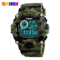 reloj de pulsera skmei led. al por mayor-SKMEI Fashion ArmyGreen Camo PU Band Relojes deportivos militares 1019 50M Waterproof Shock LED Relojes de pulsera de advertencia digital de seguridad
