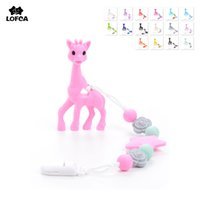 Wholesale Pink Baby Carriers - Silicone Giraffe Teething Pacifier Clip Giraffe Teether Toy Silicone Chew Teething Pacifier Clip Baby Carrier Accessory