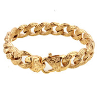 Wholesale stainless steel bracelet closures resale online - Hot Sale New Design Closure Chunky Double Curb Chain Bracelet for Men Gold Color Stainless Steel Male Punk Jewelry