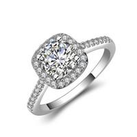anillos de las muchachas dedo tamaño al por mayor-Los anillos de las mujeres de la moda muestran la joyería elegante del dedo del temperamento de las mujeres muchachas Rose Gold / Sliver / el anillo de bodas cristalino del color oro 5-10