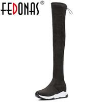 plattform lange stiefel großhandel-FEDONAS Marke Plattformen Stretch Stiefel Lange Herbst Winter Über Die Kniehohe Stiefel Warme Tanzschuhe Frau Engen Hoch Lange