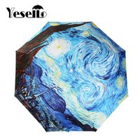Wholesale van gogh starry night oil - Drop Shipping Yesello Vincent van Gogh Oil Painting Starry Night Three Folding Umbrella 8 Rib Wind Resistant Frame For Women