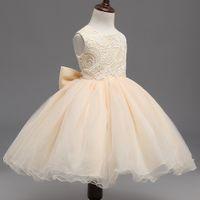 muhteşem kızlar baş toptan satış-Muhteşem Vestidos Bebek Kız Elbise Dantel Büyük Yay Parti Törenleri Giyim Çiçek Prenses Elbiseler Zarif Vaftiz Elbise