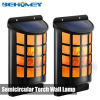 ingrosso luci a energia solare verde-1 PZ Behomey Flame Light Solar Powered Wall Lights 66 LED Portico Lampade 54LM Verde Nuovo Materiale di Alta Qualità Spedizione Gratuita