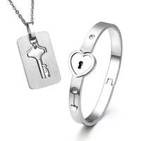 2pcs Set New Stainless Steel Silver Love Heart Lock Bangle Bracelet Matching Key Tag Pendant Necklace Couple Set