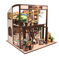 Wholesale diy miniature - New Furniture DIY Doll House Wooden Miniature Doll Houses Furniture Kit Box Puzzle Assemble Dollhouse Toys For children gift