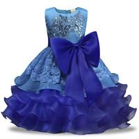 niños bordados al por mayor-2018 Summer New Girl's Multi-layer Lace Tutu vestidos de cuello redondo lindas lentejuelas bordadas Big Bow Baby Kids Daily Girl Princess Dress