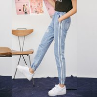 jeans de cintura alta xxl al por mayor-Vintage Holes Jeans Mujer Casual Denim Pant Spring Summer Cintura alta Ripped Wholesale Jean Ladies White Striped Side Bottom S-XXL