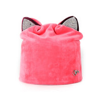 Wholesale ties head for girls - Retro Head Cap Velvet Skull With Cat Ear Hot Drill Lovely Hats Fashion And Sweetness Hat For Women Cashmere Thickening 24hf jj