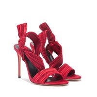 cross bowtie venda por atacado-2019 nova moda sapatos vermelho plissado cruz-amarrado tornozelo envoltório stiletto sandálias de salto sapatos sandalia sandália bowtie mulheres sapatos de salto alto partido
