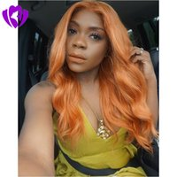 perucas de cores para mulheres venda por atacado-Onda do corpo envio rápido Womens Perucas cosplay orange color lace front peruca Sintética Resistente Ao Calor Perucas Sintéticas Do Cabelo