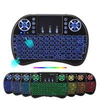 mini teclado de luz de fondo inalámbrico al por mayor-Teclado retroiluminado 20pcs Rii I8 de control remoto inalámbrico ratón del aire de luz de fondo con el Touchpad para X96 Mini Mini TX3