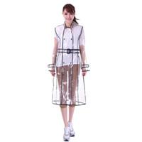 yağmur ceketi kadın toptan satış-EVA Şeffaf Yağmurluk Kemer Ile Kadınlar için Uzun Yağmurluk Su Geçirmez Ceket Rüzgarlık Yağmur Panço Açık Havada çapa de lluvia