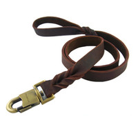 Wholesale personalized leather dog leashes resale online - Hot Pet Supplies Soft Genuine Cowhide Pet Dog Leashes Medium Large Dog Leash Brown Types