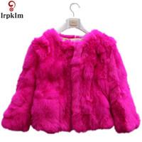 corea de piel sintética al por mayor-Faux Rabbit Furs Abrigos corto grueso grueso abrigo abrigo de piel sintética Mujeres Corea diseño abrigo de piel rosa gris rojo S-XXL LZ283