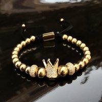 браслеты из металла с шармом оптовых-Браслеты с подвесками 6 мм золотой металл титановые стальные бусины браслет браслеты Корона тканые браслет ювелирные изделия из нержавеющей стали 2018