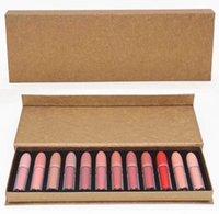 Wholesale Hot Transport - New Hot Makeup lipsticks Set!! Matte Liquid Lipstick 12pcs set Lip Gloss 12colors transport pipe DHL shipping+Gift