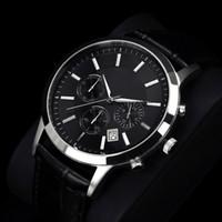 relógio de couro masculino da correia venda por atacado-Relogio masculino Famosa Mens Relógios Top Marca de Luxo Designer de Negócios de Moda relógio de Quartzo Homens Esporte Pulseira De Couro relógio de Pulso Masculino