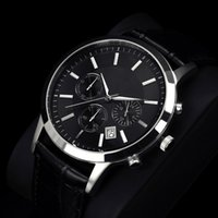 Wholesale male leather strap watch for sale - Group buy relogio masculino Famous Mens Watches Top Brand Luxury Fashion Business designer Quartz Watch Men Sport Leather Strap Wristwatch Male