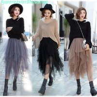 Wholesale Free Midi - 3 Colors Women Tulle Tutu Skirt Ball Gown Long Pleated Skirts Women Mid-Calf Summer Party Asymmetric Midi Skirt Free Size BQ7219