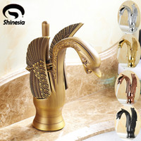 Wholesale antique brass bathroom faucet - Antique Brass Swan Shape Bathroom Basin Sink Faucet One Hole Traditional Style Mixer Tap Deck mounted